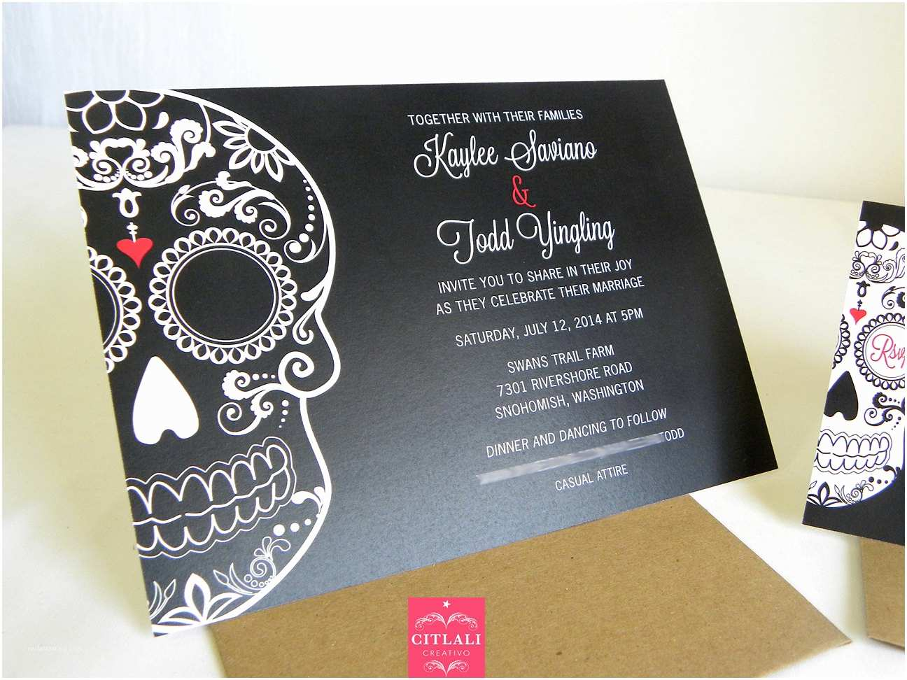 Day Of the Dead Wedding Invitations Day Of the Dead Wedding Invitation Dia De Los Muertos by