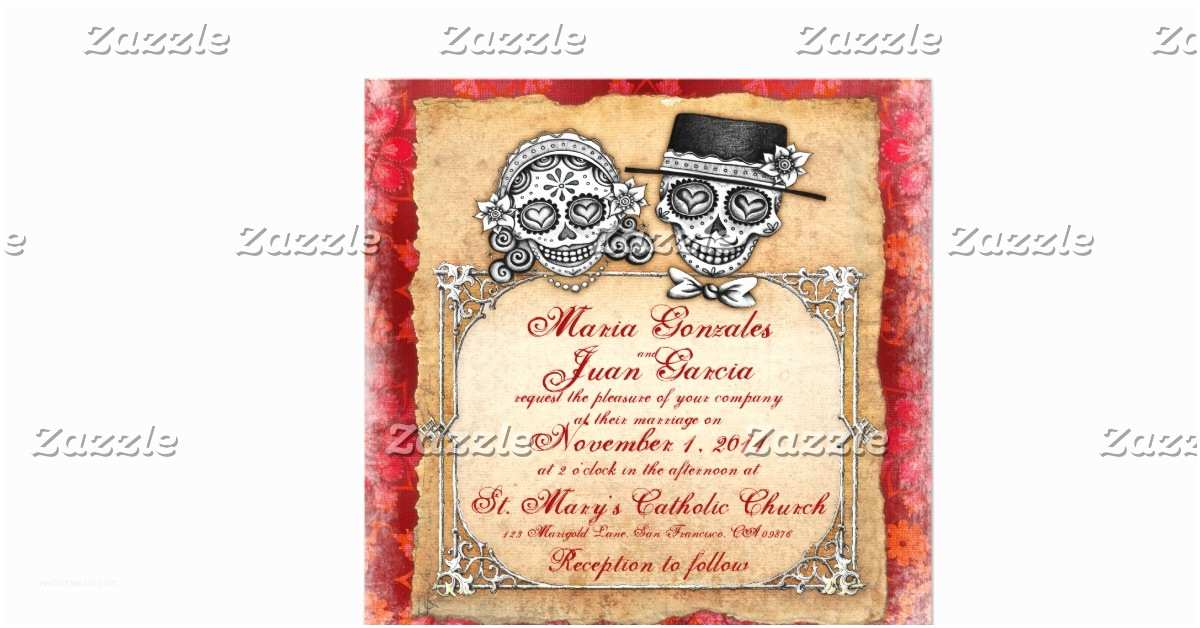 """Day Of the Dead Wedding Invitations Day Of the Dead Wedding Invitations 5 25"""" Square"""