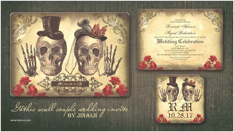 Day Of the Dead Wedding Invitations Read More – Gothic Skull Couple Day Of Dead Wedding