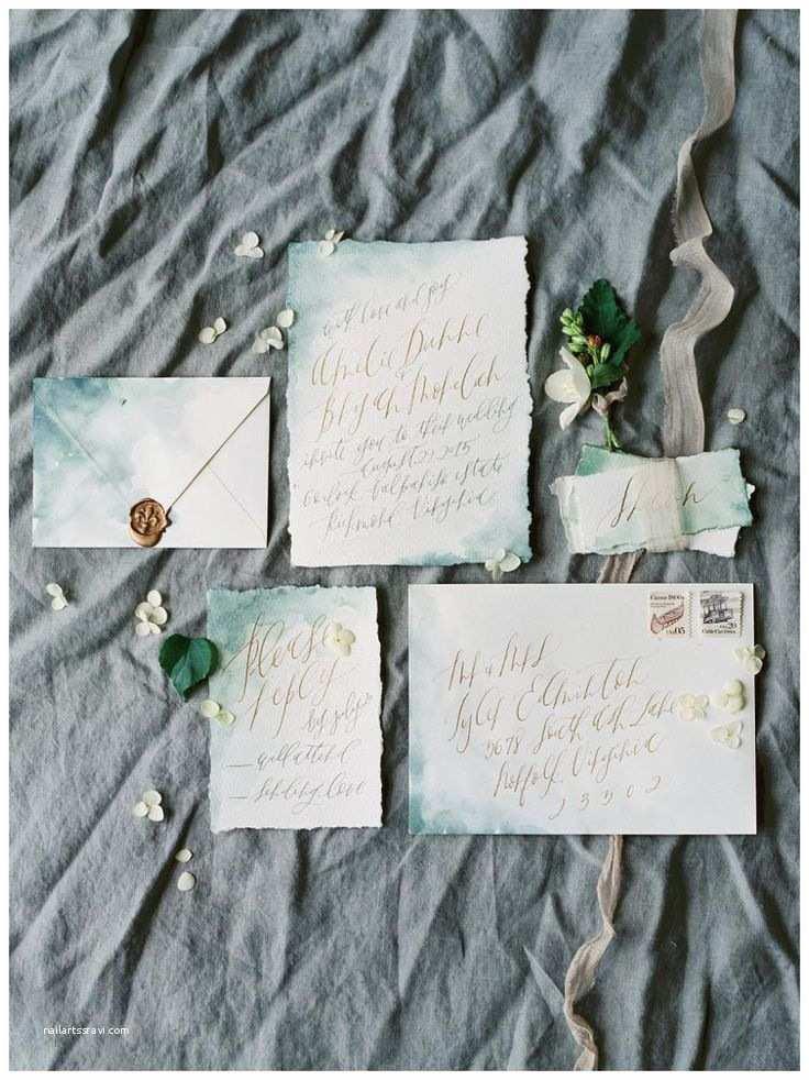Deckle Edge Paper Wedding Invitations Exquisite Wedding Invitation Suite On Blue Watercolor