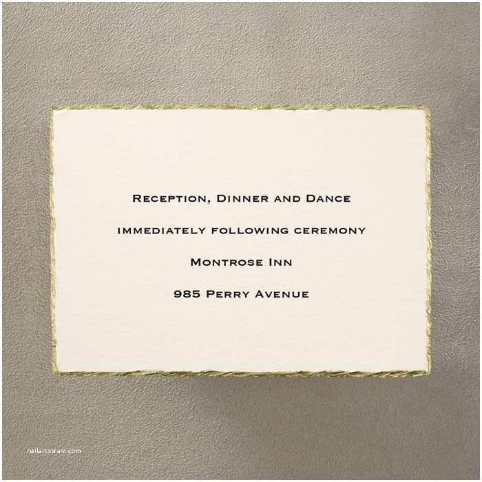 Deckle Edge Paper Wedding Invitations Gold On Cream Deckle Edge Additional Card S Little Flamingo