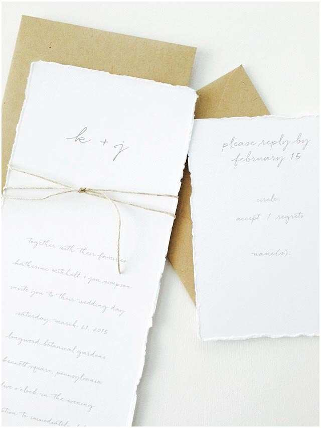 Deckle Edge Paper Wedding Invitations Katherine Wedding Invitation Kraft Wedding Invitation