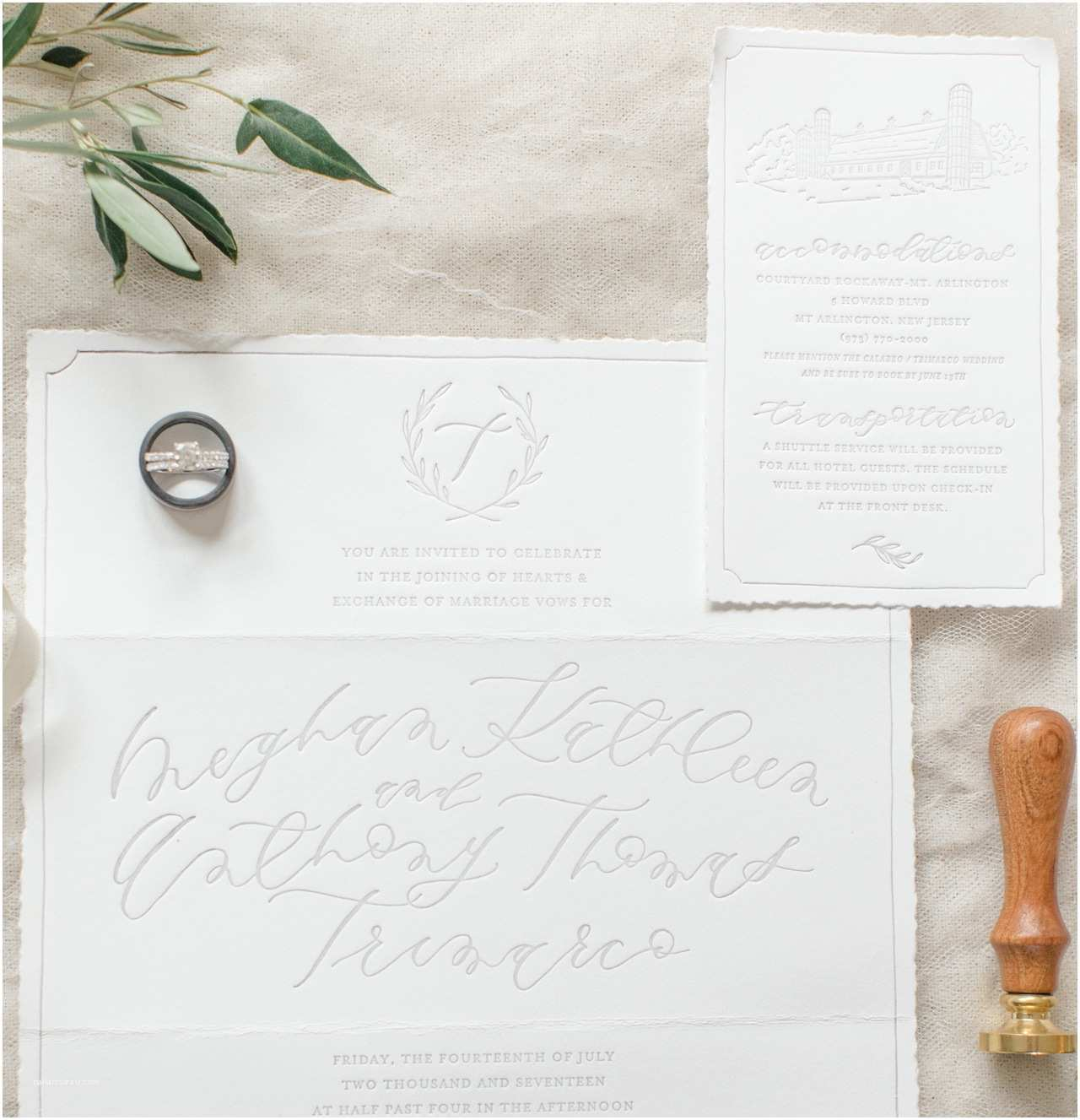 Deckle Edge Paper Wedding Invitations Romantic Gray Calligraphy Wedding Invitations with Deckled