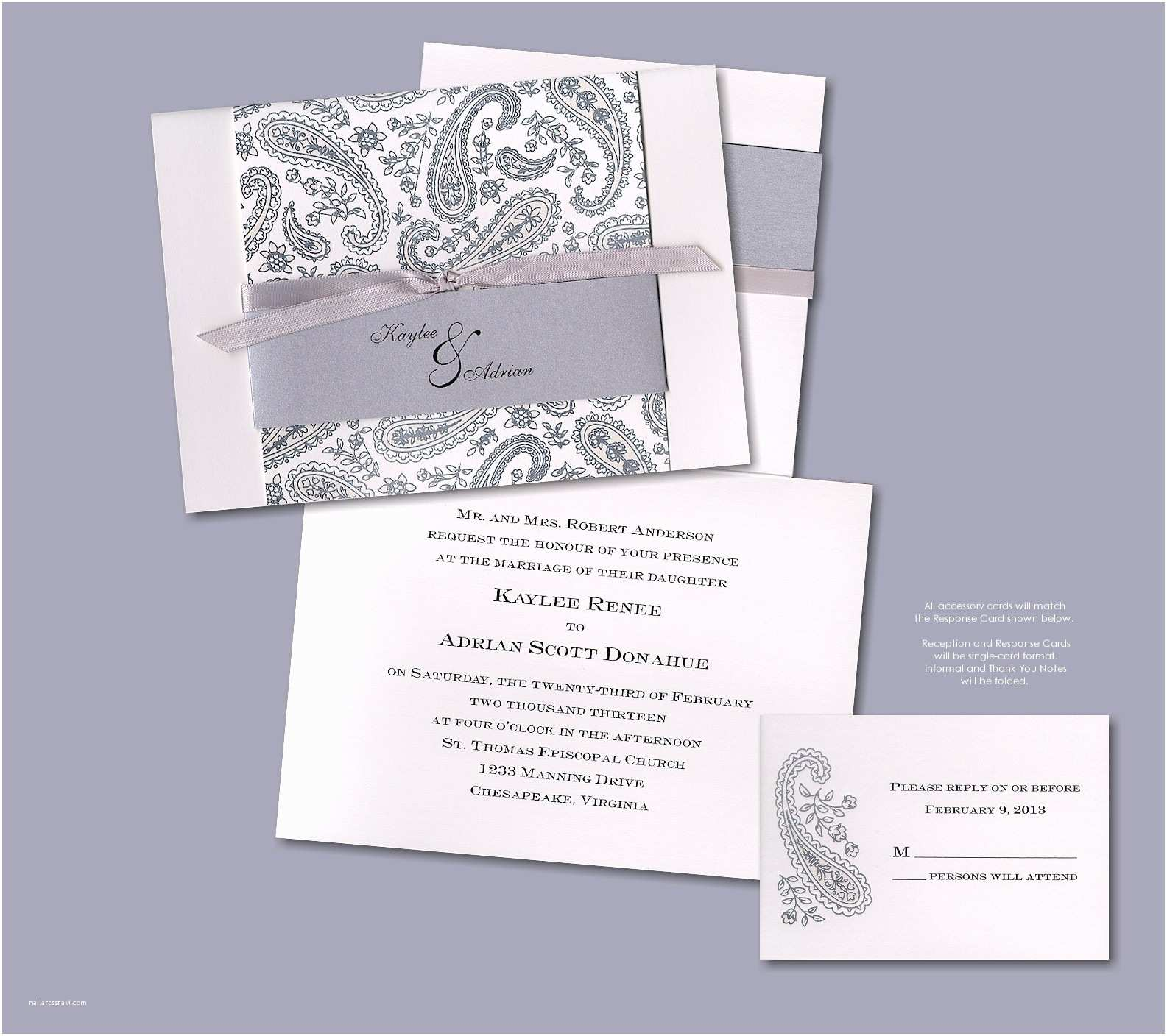 Deckle Edge Paper Wedding Invitations Silver Deckle Edge Wedding Invitations – Mini Bridal