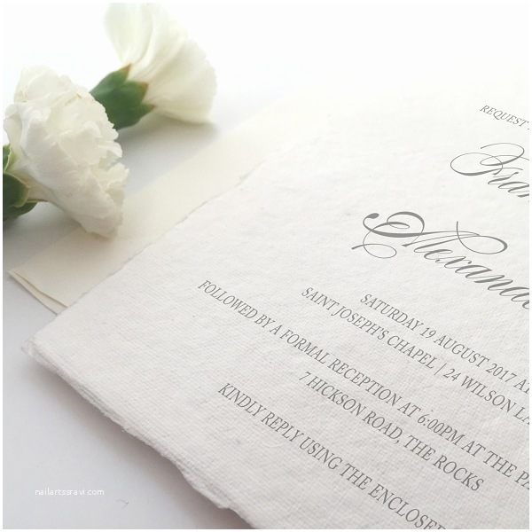 Deckle Edge Paper Wedding Invitations Traditional Deckled Edge Wedding Invitation