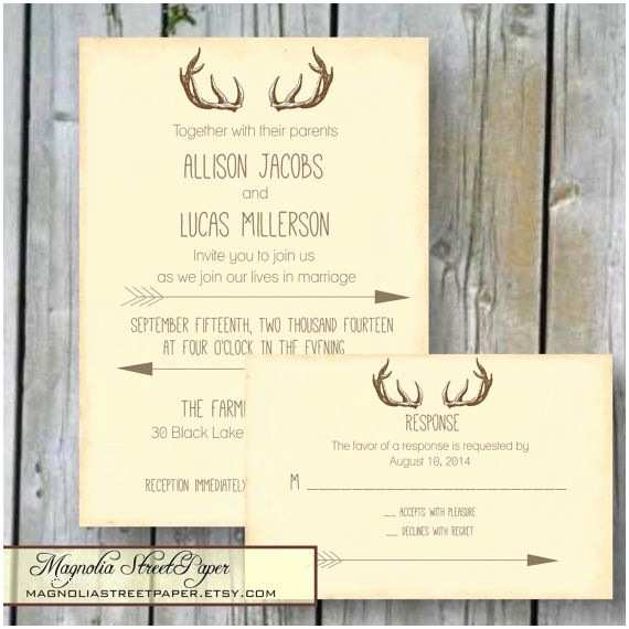 Deer Antler Wedding Invitations Antler Wedding Invitation Rustic Deer Antler and Arrow