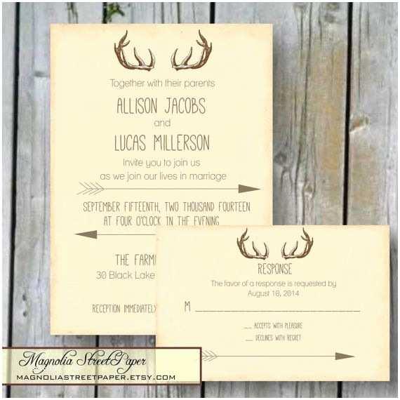 Deer Antler Wedding Invitations Antler Wedding Invitation Rustic Deer Antler and Arrow