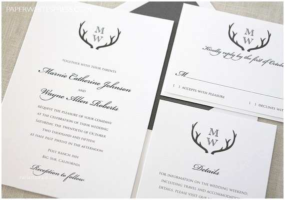 Deer Antler Wedding Invitations Antler Wedding Invitation Rustic Modern by Paperwhitespress
