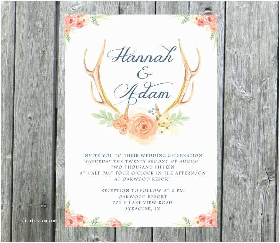 Deer Antler Wedding Invitations Antlers Wedding Invitation Rustic Wedding Invite by