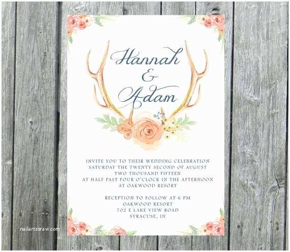 Deer Antler Wedding Invitations Antlers Wedding Invitation Rustic Wedding Invite by