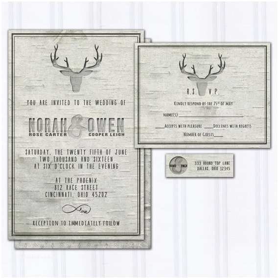 Deer Antler Wedding Invitations Birch Tree Bark Wedding Invitations Deer Antler by
