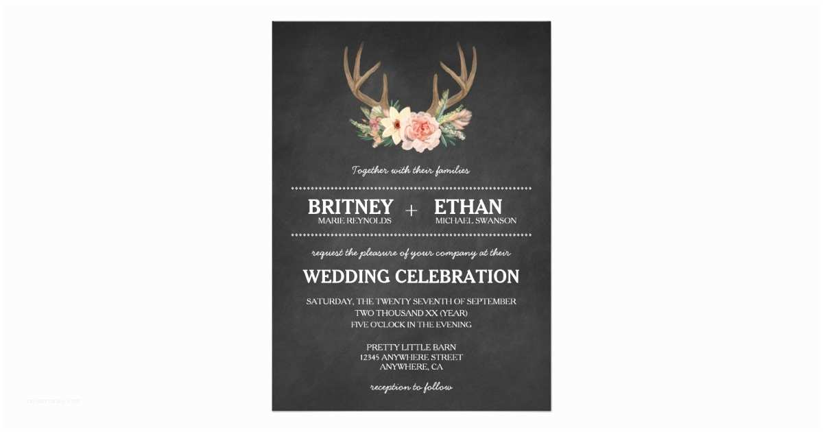 Deer Antler Wedding Invitations Country Chalkboard Deer Antler Wedding Invitations