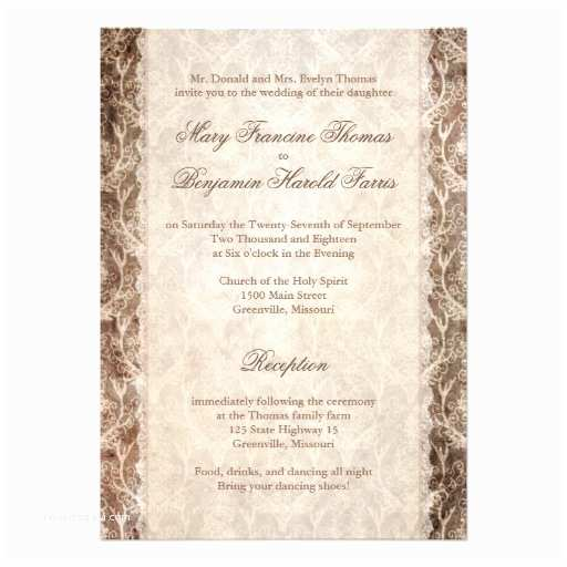 "Deer Antler Wedding Invitations Deer Antler Damask Brown & Cream Wedding 5"" X 7"