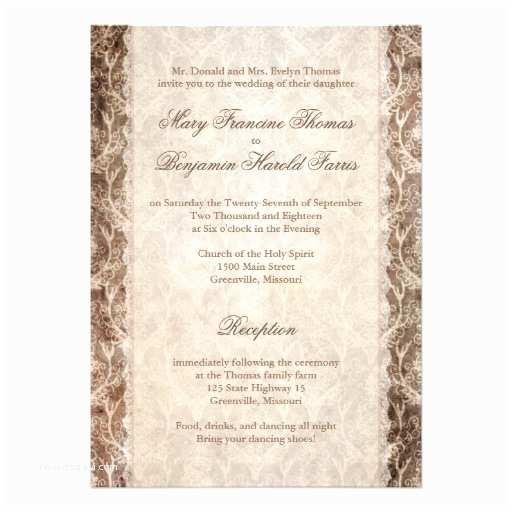 "Deer Antler Wedding Invitations Deer Antler Damask Brown & Cream Wedding 5"" X 7"