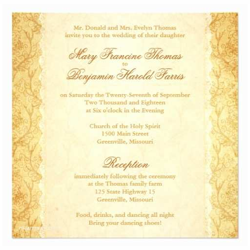 Deer Antler Wedding Invitations Deer Antler Damask Vintage Cream Wedding Invitation