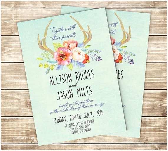 Deer Antler Wedding Invitations Deer Antler Wedding Invitation Floral Wedding by