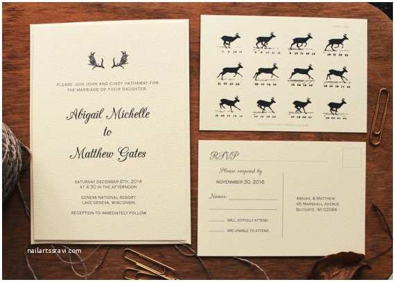 Deer Antler Wedding Invitations Deer Antler Wedding Invitation Rustic Wedding Invitation