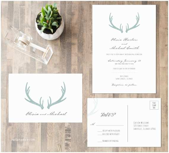 Deer Antler Wedding Invitations Deer Antler Wedding Invitation Suite by Charmingtreedesign