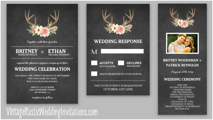 Deer Antler Wedding Invitations Deer Antler Wedding Invitations Vintage Rustic Wedding