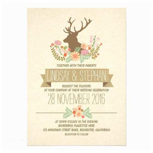 Deer Antler Wedding Invitations Deer Antlers Romantic Rustic Wedding Invitations