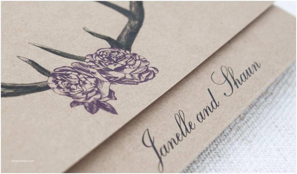 Deer Antler Wedding Invitations Deer Antlers with Roses Rustic Wedding Invitation Be My