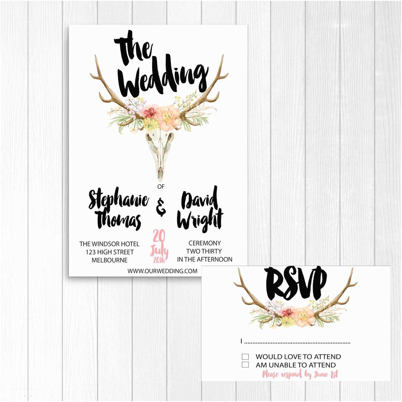 Deer Antler Wedding Invitations Deer Wedding Invitation Antlers Wedding Invitation Diy