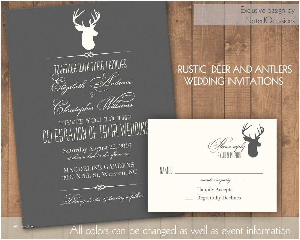 Deer Antler Wedding Invitations Deer Wedding Invitation Rustic Wedding by Notedoccasions