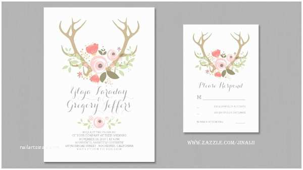 Deer Antler Wedding Invitations Modern Wedding