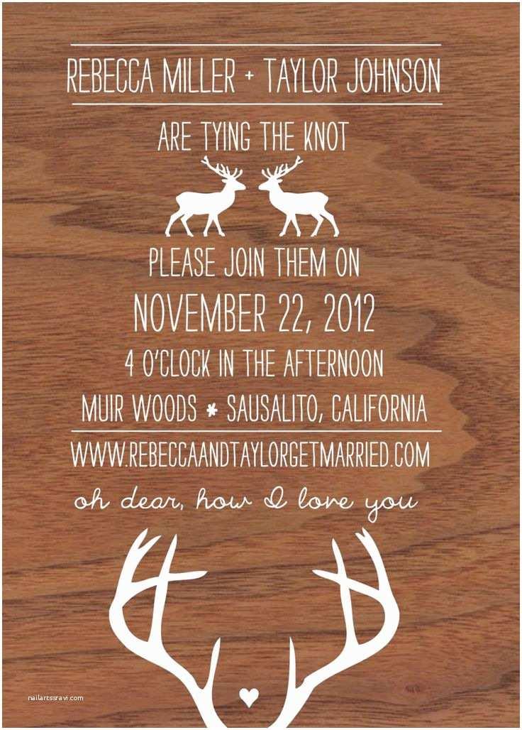 Deer Antler Wedding Invitations Oh Dear Deer Woodgrain and Antler Wedding Invitation