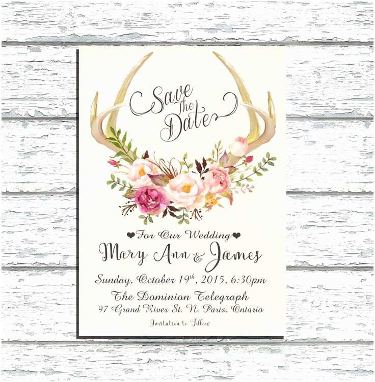Deer Antler Wedding Invitations Printable Save the Date Deer Antler Wedding Invitation