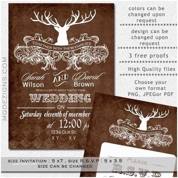 Deer Antler Wedding Invitations Printable Wedding Invitation Template Antler Wedding