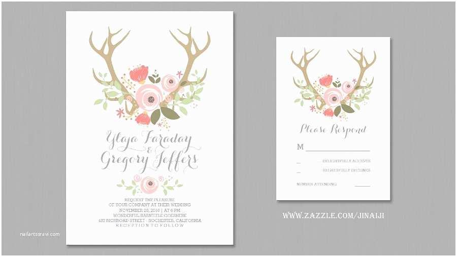 Deer Antler Wedding Invitations Read More – Floral Antlers Wedding Invitations