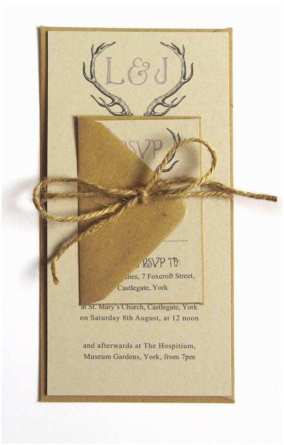 Deer Antler Wedding Invitations Rustic Antler Winter Woodland Wedding Invitation