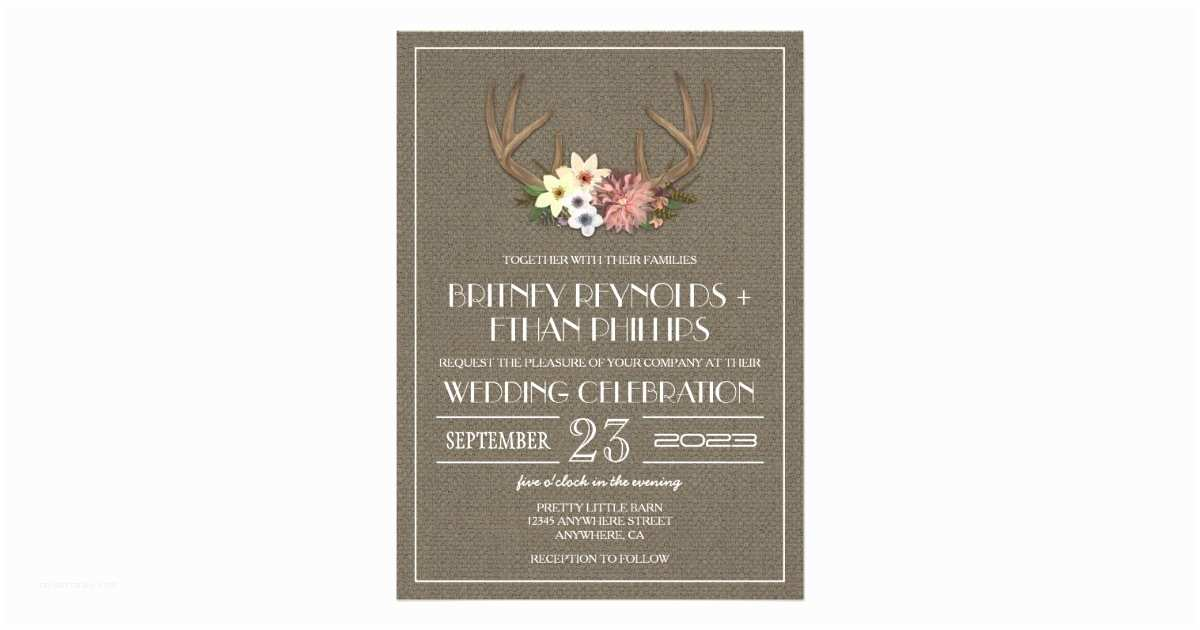 Deer Antler Wedding Invitations Rustic Burlap Deer Antler Wedding Invitations