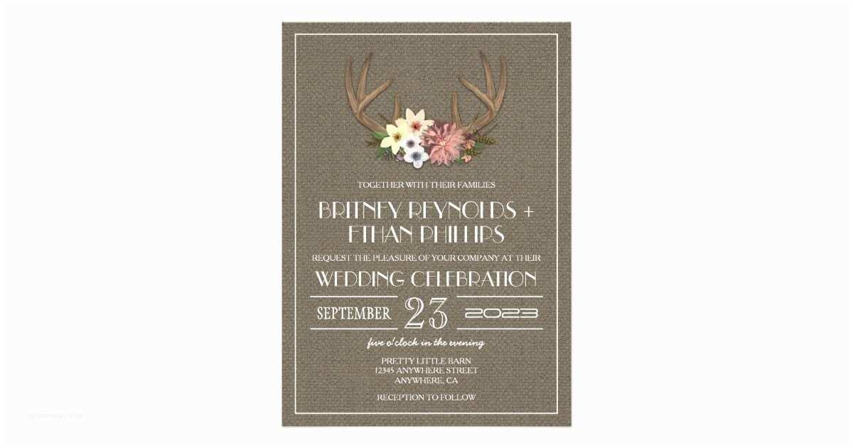 Deer Antler Wedding Invitations Rustic Burlap Deer Antler Wedding Invitations