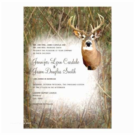 "Deer Antler Wedding Invitations Rustic Camo Hunting Deer Antlers Wedding Invites 4 5"" X 6"