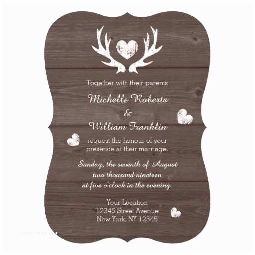 Deer Antler Wedding Invitations Rustic Country Chic Deer Antler Wedding Invitation