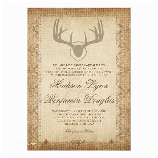 Deer Antler Wedding Invitations Rustic Deer Antlers Hunting Burlap Wedding Invites