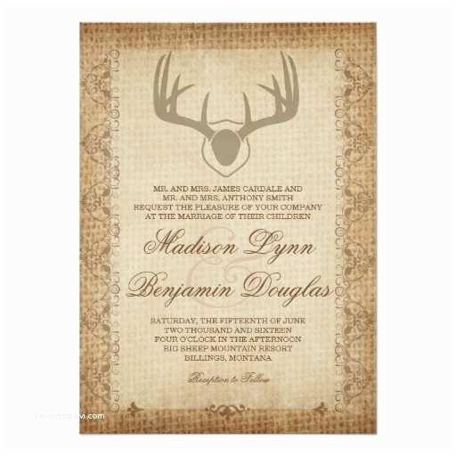 Deer Antler Wedding Invitations Rustic Deer Antlers Hunting Burlap Wedding Invites