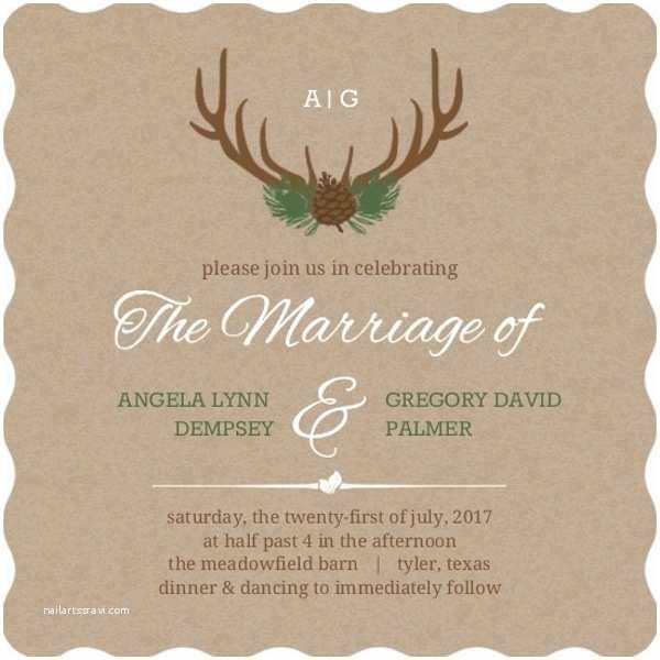 Deer Antler Wedding Invitations Rustic Deer Antlers Wedding Invitation