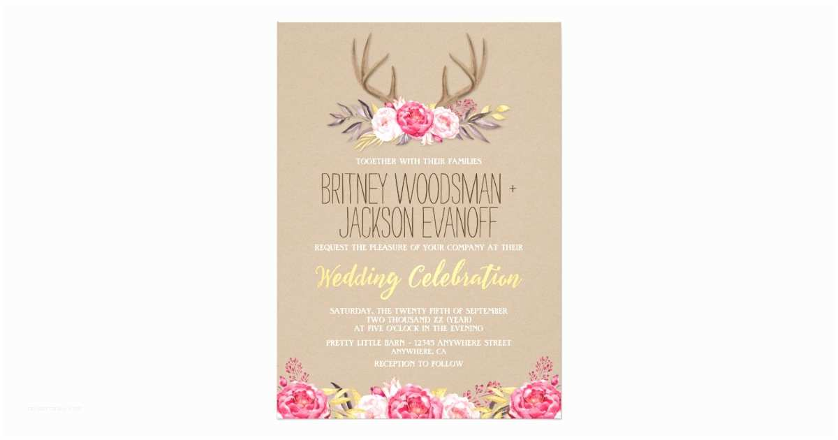 Deer Antler Wedding Invitations Rustic Peony and Deer Antler Wedding Invitations