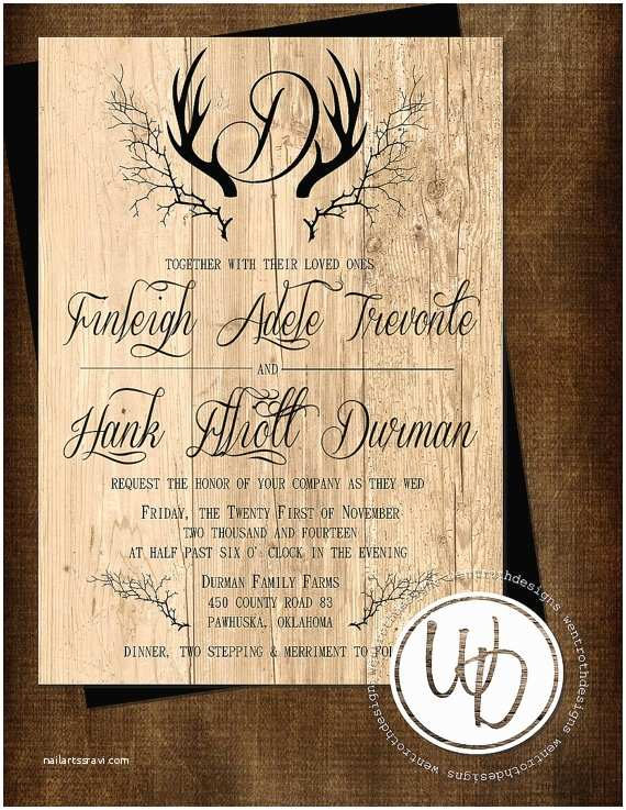 Deer Antler Wedding Invitations Rustic Wedding Invitation Antler Wedding Invitation Deer