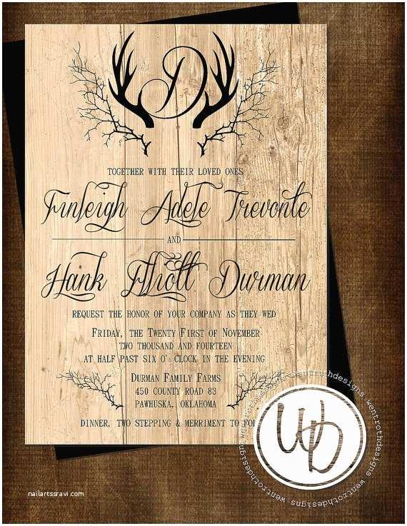 Deer Antler Wedding Invitations Rustic Wedding Invitation Antler Wedding Invitation Deer