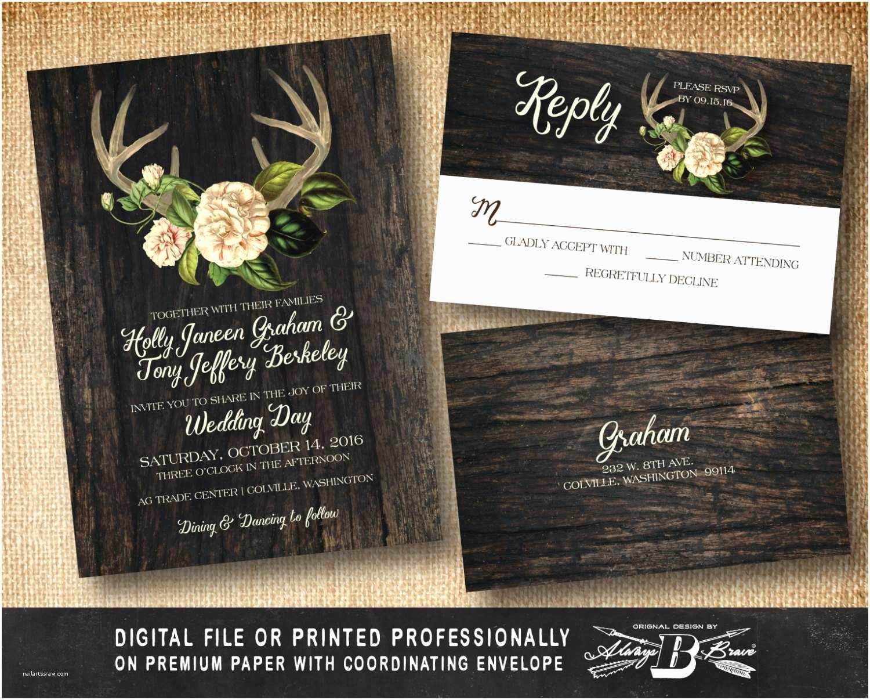 Deer Antler Wedding Invitations Rustic Wedding Invitation Set Antler Wedding Invitation