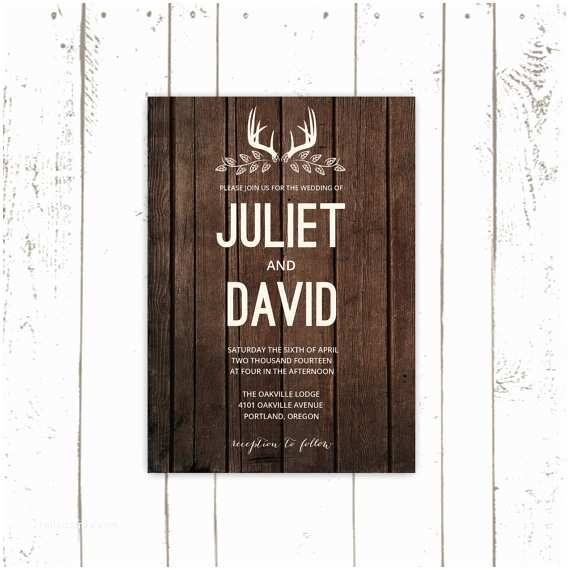 Deer Antler Wedding Invitations Rustic Wedding Invitation Set Deer Antler Invitations