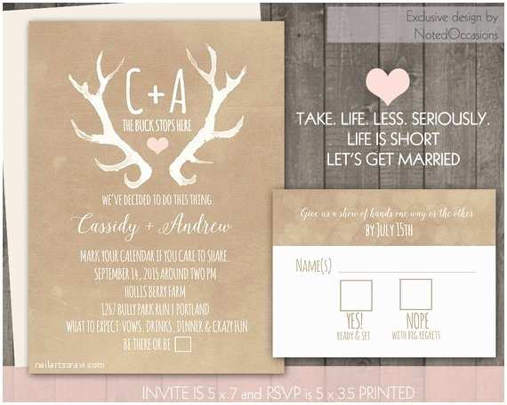 Deer Antler Wedding Invitations Rustic Wedding Invitation Set Deer Antlers Blush Casual Blush
