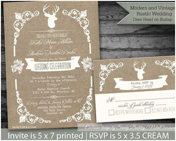 Deer Antler Wedding Invitations Rustic Wedding Invitations Rustic Deer and Antlers On