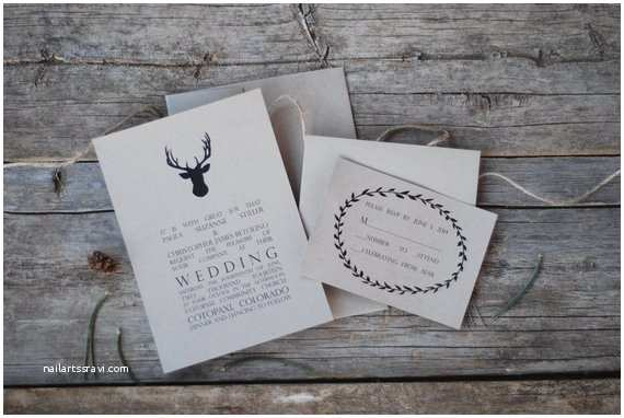 Deer Antler Wedding Invitations Special Antler Wedding Invitation Suite Deer Buck by