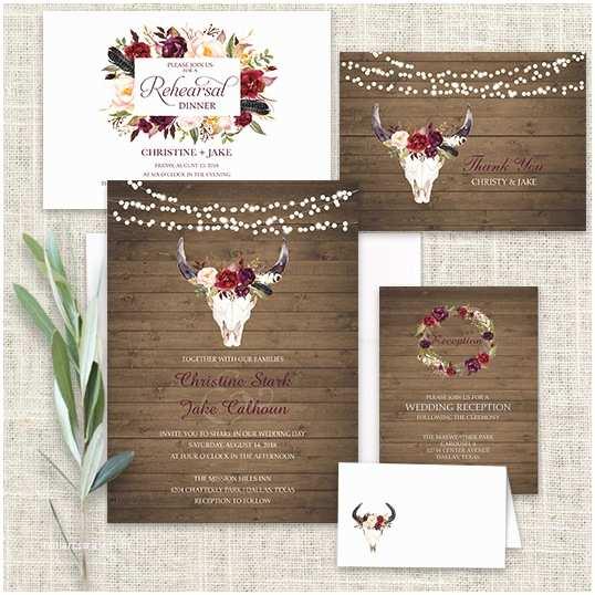 Deer Antler Wedding Invitations Wedding Invitations Floral Deer Skull Antler Burgundy
