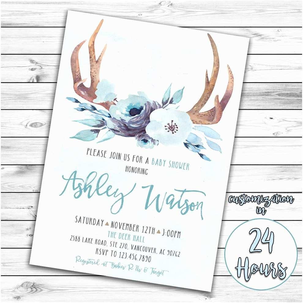Deer Baby Shower Invitations Boy Baby Shower Invitation Woodland Baby Shower Deer Baby